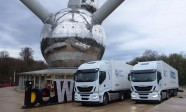 Iveco Stralis Hi-Way trucks set for departure from Brussels for European...